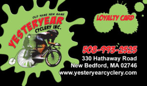 YESTERYEAR Cyclery LOYALTY CARD New Bedford Ma.